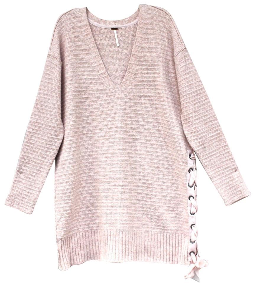 30c62613de0 Free People S Heart It Lace-up Oversized Cotton S Rose Sweater - Tradesy