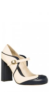 Max Studio Leather Heels Two-tone Evening And Daytime Mary Janes Pumps
