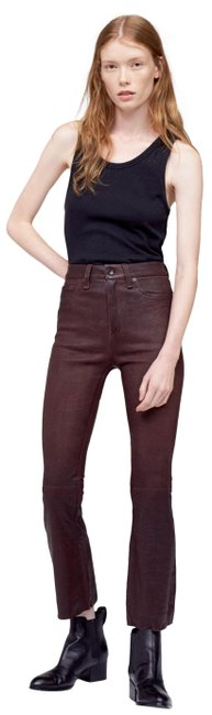 Item - Burgundy Dark Red Cherry Distressed High Waist Cropped Stretch Leather Pants (New with Tags) Flare Leg Jeans Size 24 (0, XS)