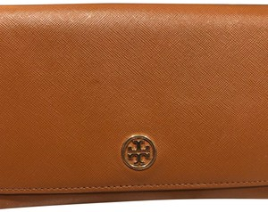 Tory Burch Robinson Saffiano Brown Wallet with Chain