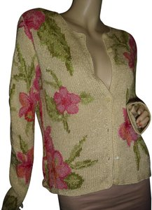 David Brooks Hongkong Sweater Embroidered Leaves Small Petite Cardigan