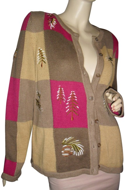 Item - Beige Taupe Fuschia Square Evergreen Patchwork Color Block Embroidered Cardigan Size 10 (M)