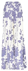 Free People Floral Flowy Bohemian Boho Wide Leg Pants White Blue
