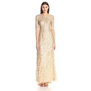 Adrianna Papell Champagne Gold Beaded Scoop Neck 3/4 Sleeve Gown Formal Bridesmaid/Mob Dress Size 6 (S)
