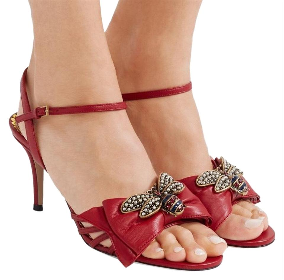 17d260175 Gucci Queen Margaret Crystal Bee Embellished Bow Leather Sandals ...