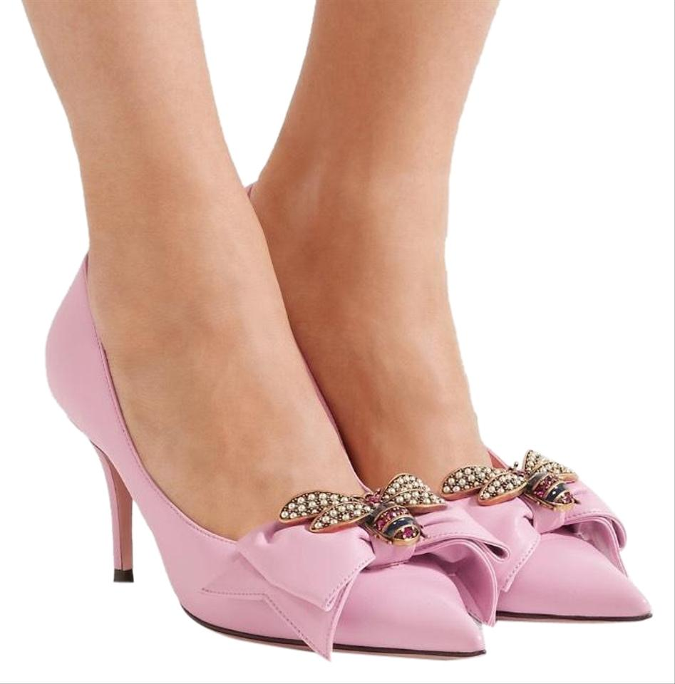 0d1fd683e8e5 Gucci Queen Margaret Crystal Bee Bow Leather Pumps Size US 7 Regular ...