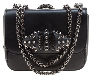 Louboutin Leather Embellished Suede Shoulder Bag
