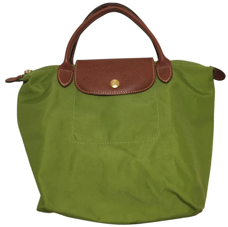 77a65c1313 Longchamp Bag Pliage Small In Blue Color and Brown Leather Con Green ...