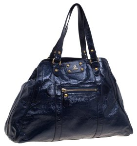 Fendi Leather Fabric Zip Pocket Tote in Blue