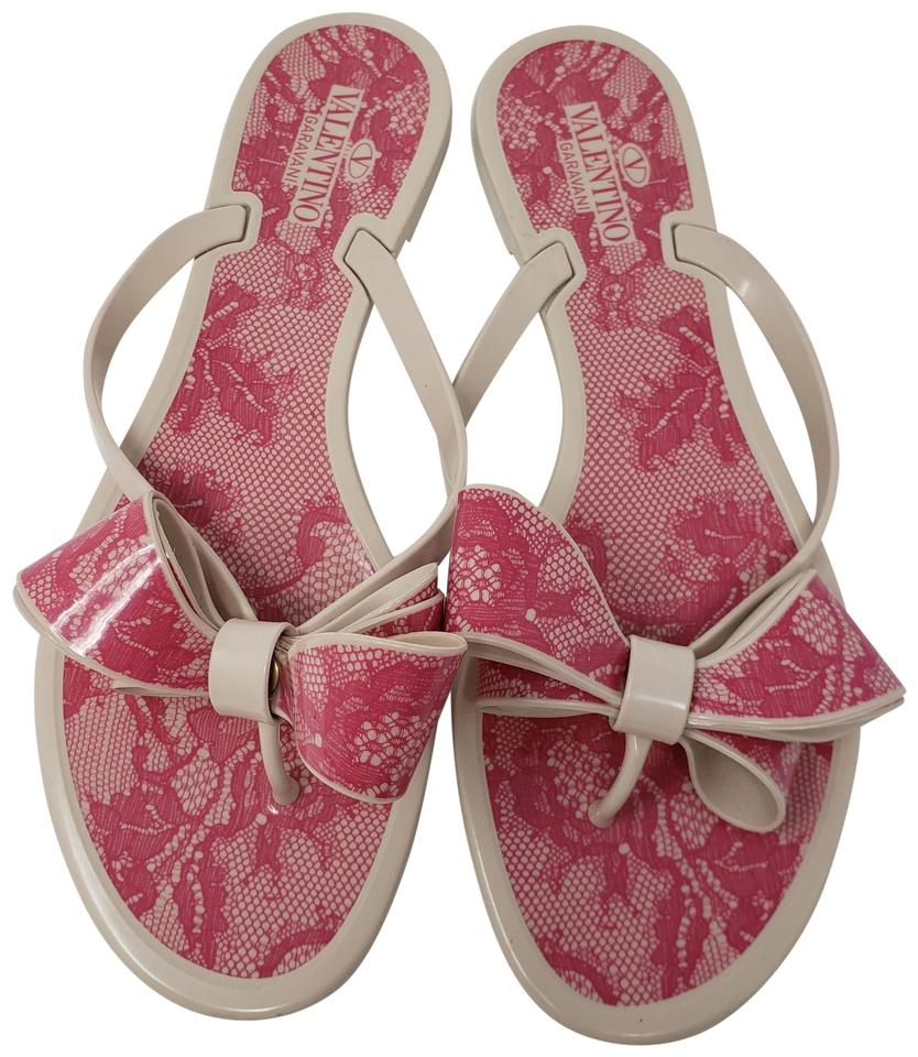 f103226107ab Valentino Beige Pink Jelly Lace Print Bow Sandals Size EU 40 (Approx ...