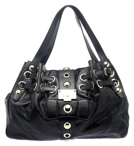 Jimmy Choo Leather Suede Silver Tote in Black