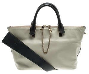 Chloé Leather Fabric Gold Tote in Black