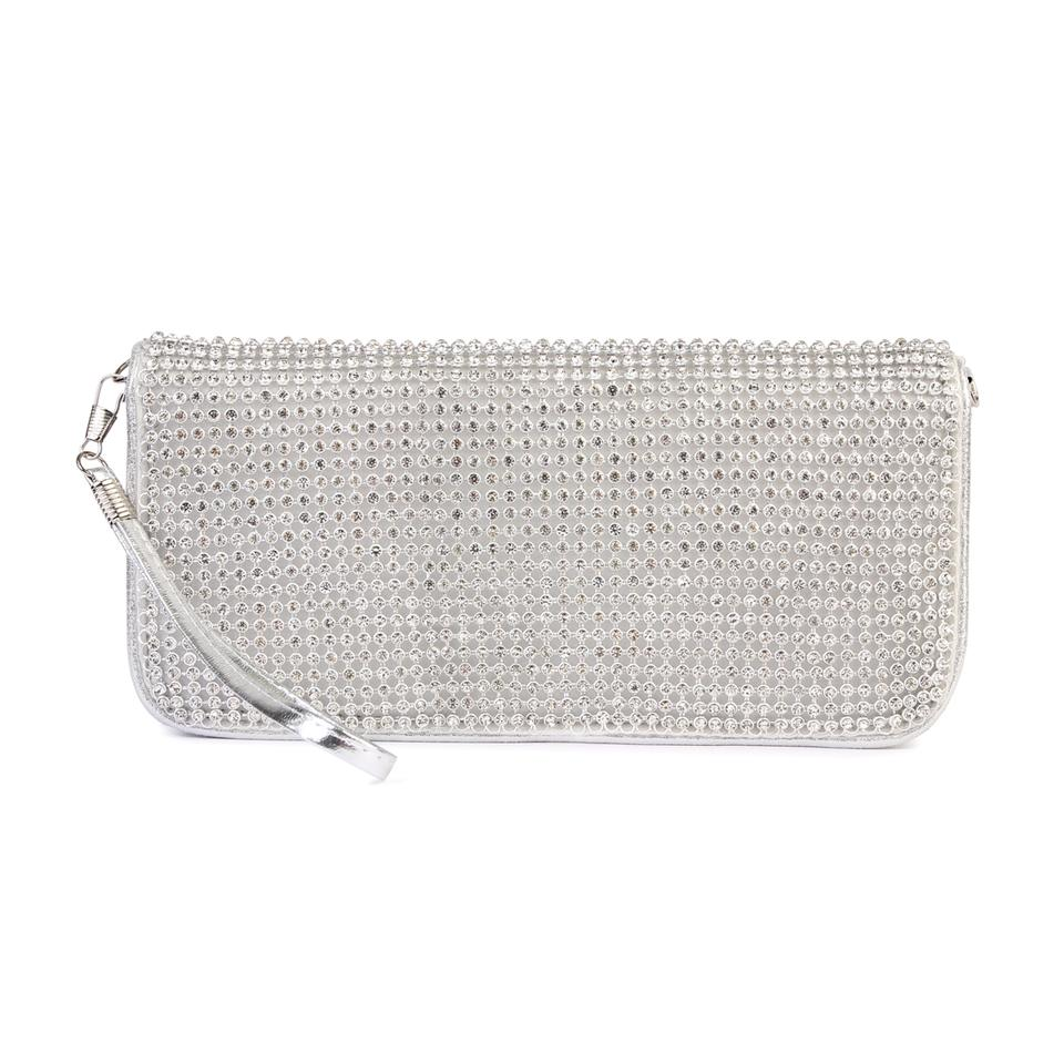 Clutch Wristlet Silver Pu Zircon Stone Base Metal Cross Body Bag ... a199fe7370922