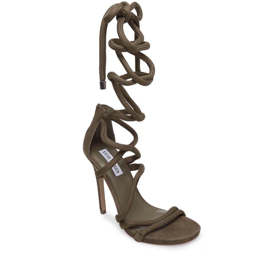 1e42fab4f32 Steve Madden Army Green Drama Lace Up Leg Wrap Heels Sandals Size US ...
