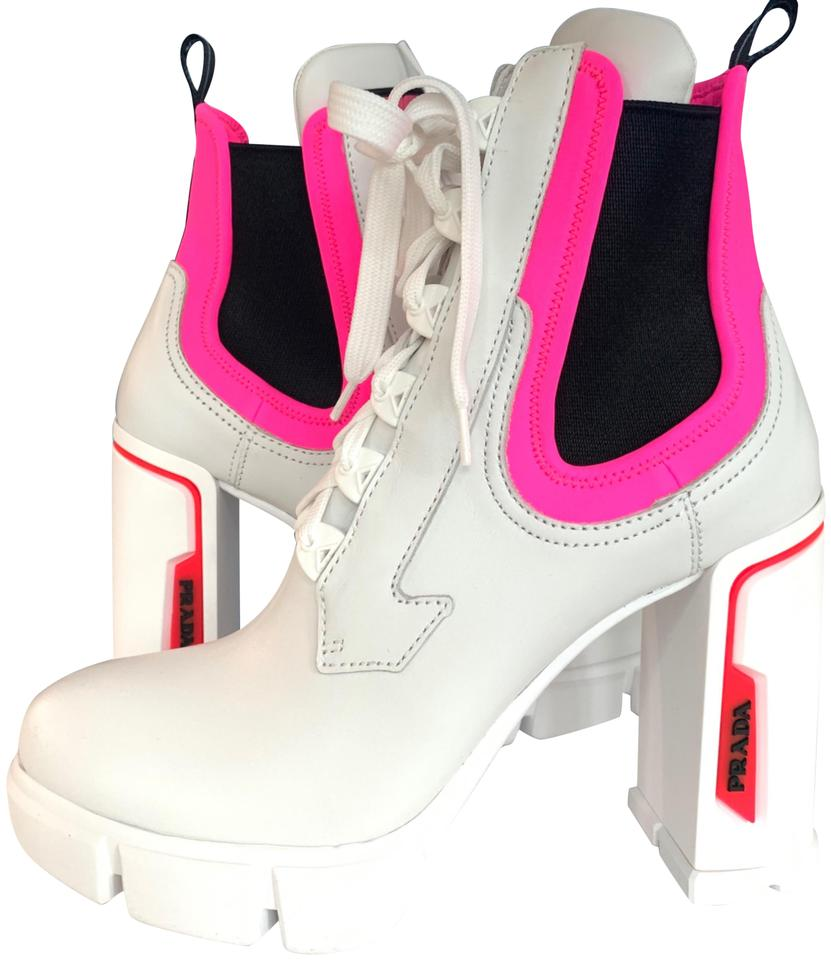 Prada White Neoprene Pink Neon Lace Up Runway Ankle Boots