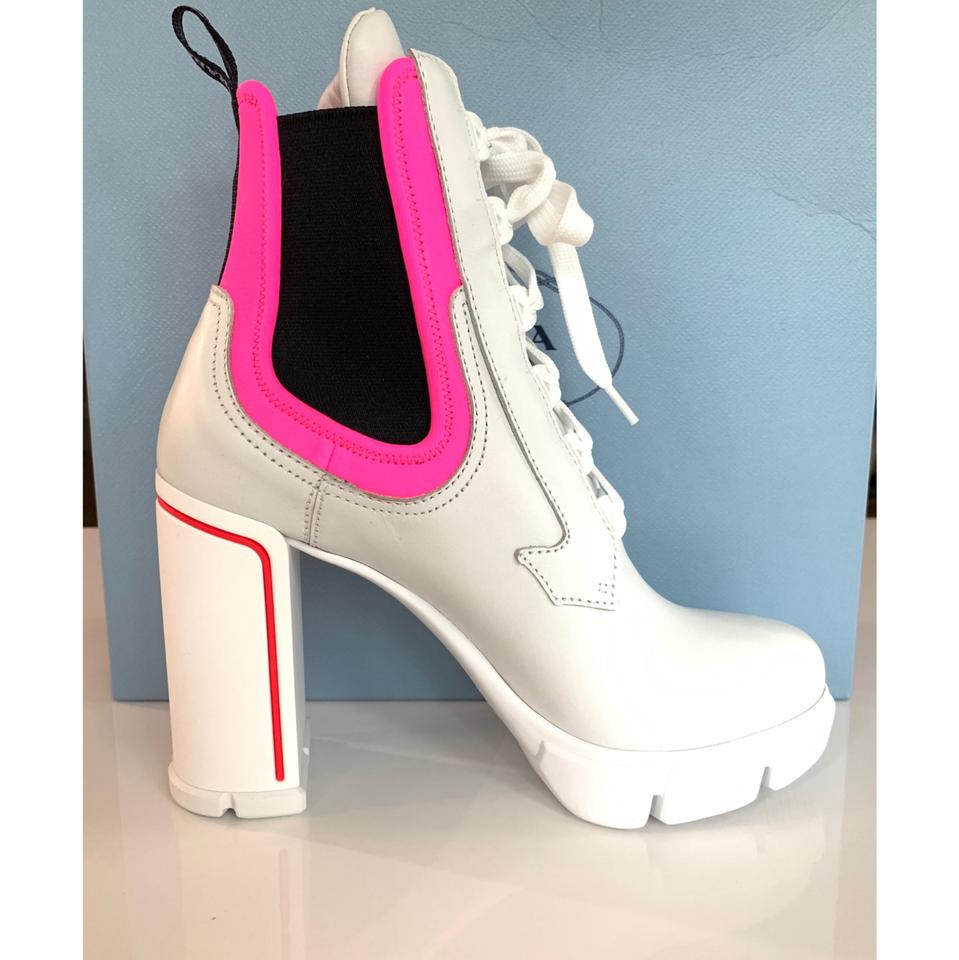 91c347dfba Prada White Neoprene Pink Neon Lace Up Runway Ankle Boots/Booties Size EU  35.5 (Approx. US 5.5) Regular (M, B)