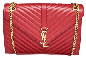 Saint Laurent Monogram Ysl Quilted Tote in red