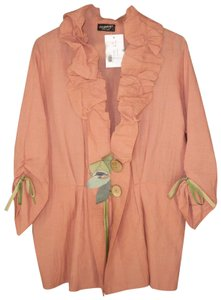 Lee Andersen Cotton Ruffled Applique Ruched Jacket