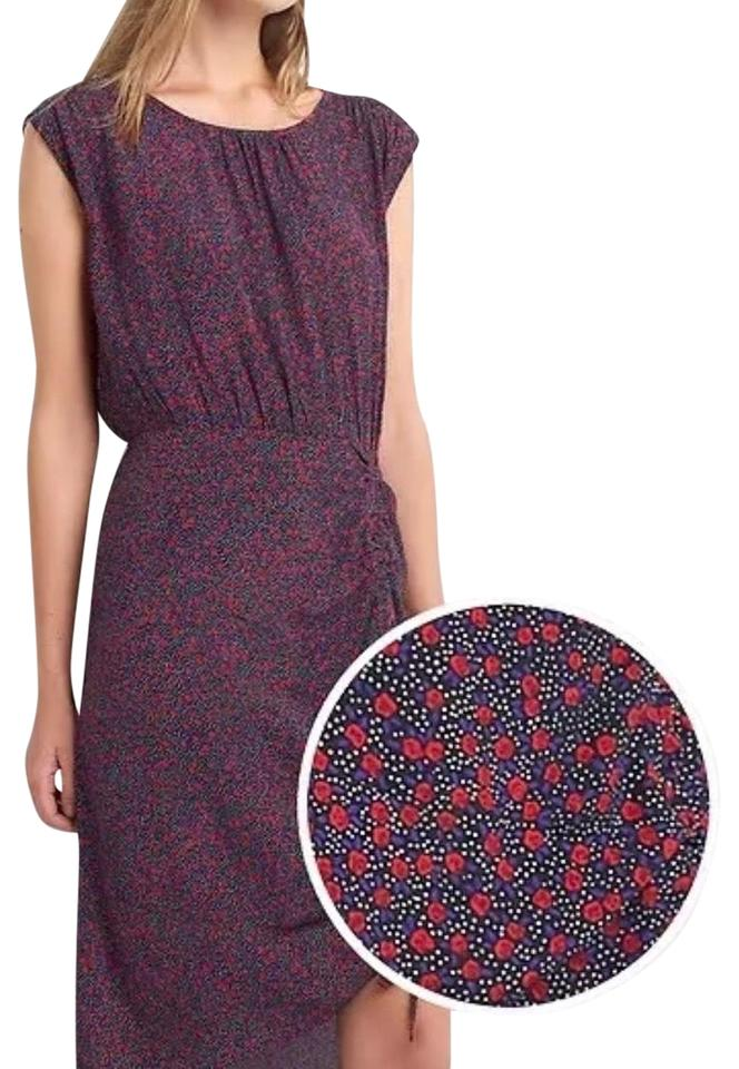 df28c4b005f Gap Red and Black Floral Printed Cap Sleeve Rouched Midi Mid-length ...