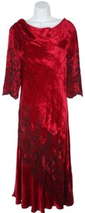 April Cornell Christmas Holiday Velvet Embroidered Bias Cut Dress