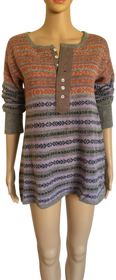 4ee68ddab7ccf7 Free People Faire Isle Henley Tunic Multicolor Sweater - Tradesy