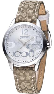 Coach Brown Fabric Leather Signature Monogram 14501620 Watch