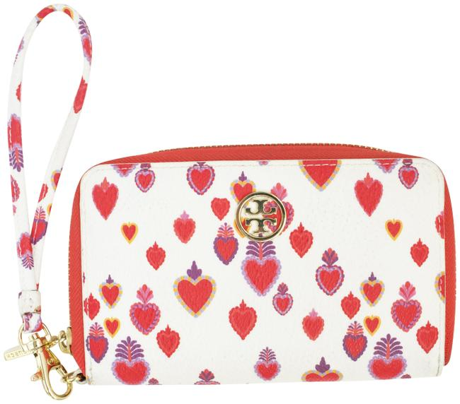 Item - Heart Printed Carmelite Wallet White/Pink/Red Leather Wristlet