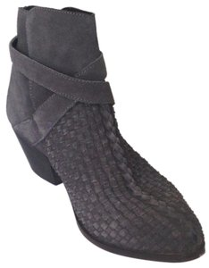 Free People Handwoven Upper Leather Worn In Look Western Styling Almond Toe Gray Boots