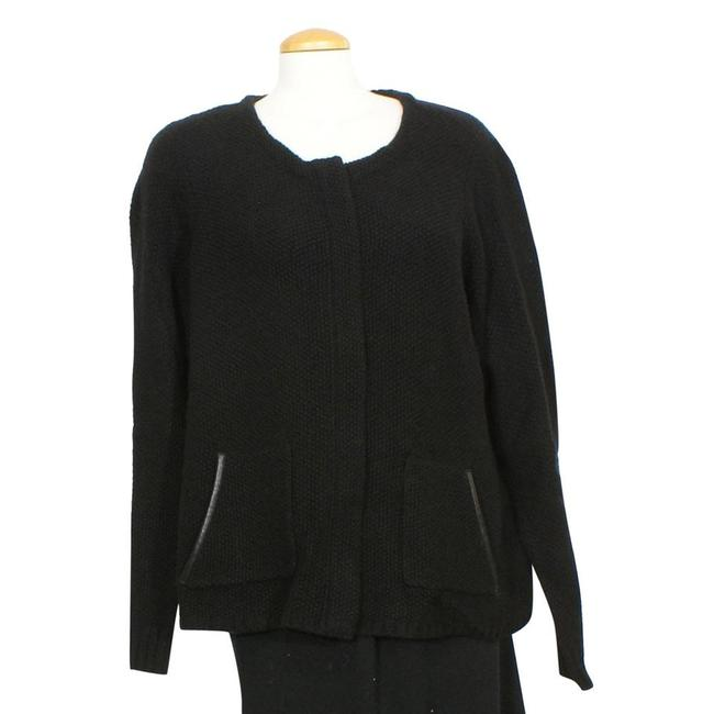 Item - Black XL Textured Supersoft Yak Merino Leather Trim Knit Jacket Size 18 (XL, Plus 0x)