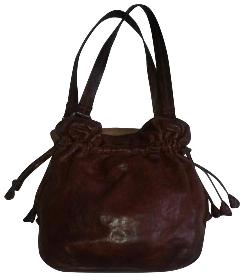 63684894c775 Lucky Brand Tulip Drawstring Shape Italian Brown Lambskin Leather Shoulder  Bag