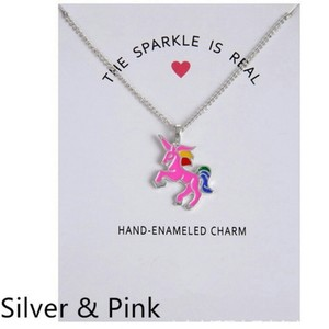 Fashion Jewelry For Everyone Pink Silver Plated Double Color Glaze Unicorn Horse Clavicle Pendant Necklace