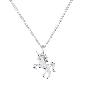 Fashion Jewelry For Everyone Silver Plate Unicorn Horse Clavicle Pendant Necklace