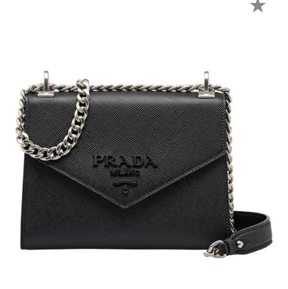 297d54c88dc2 Prada Monochrome Saffiano Black Leather Cross Body Bag - Tradesy