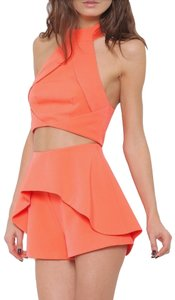 L'ATISTE Two Piece Halter Crop Top Neon High Waist Dress