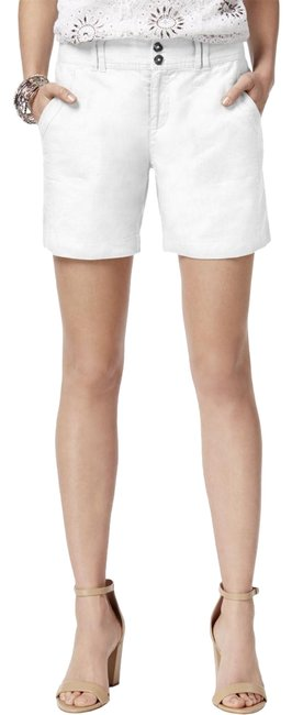 Item - White Womens Linen Curvy Fit Embellished Casual Shorts Size 6 (S, 28)