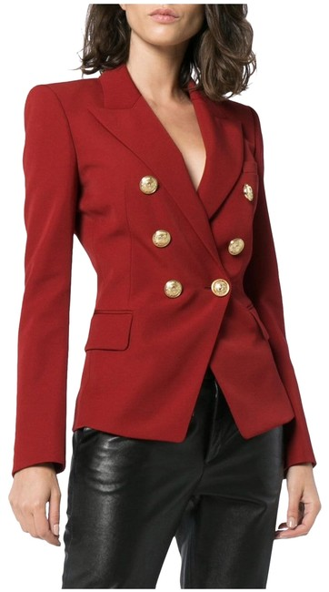 Item - Red Double Breasted Wool Blend 40 Blazer Size 8 (M)