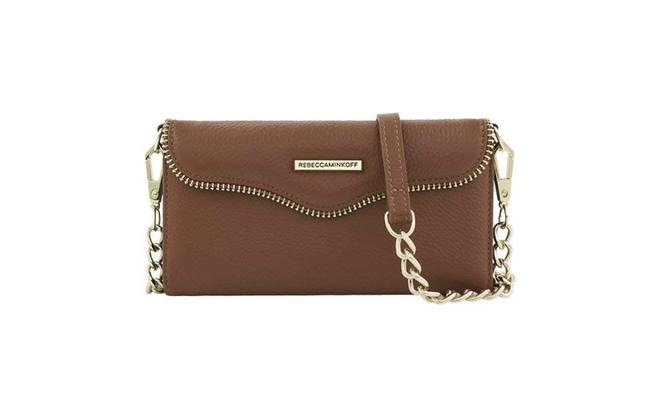 Item - Crossbody W Mab Charging Tech Iphone Almond Brown Leather Wristlet
