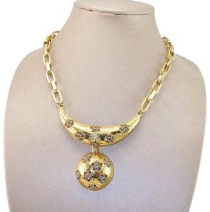 Lucien Piccard Vintage 1970's Chunky Chain Black Diamond Rhinestone Floral Necklace