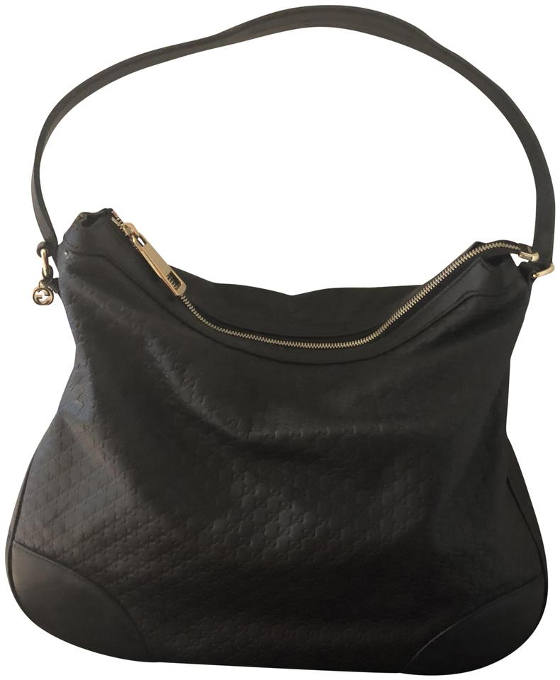 2766851e635 Gucci Bree Micro Gg Guccissima and Wallet Black Leather Hobo Bag ...
