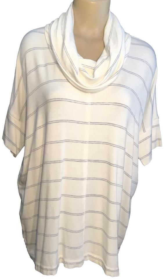 11fb4324e76 Lou & Grey Striped Cowl Neck White/Gray Sweater - Tradesy
