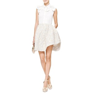 Simone Rocha Metallic Holiday Evening Cloque Mini Skirt Silver