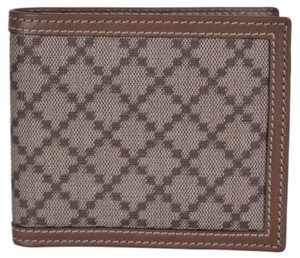 Gucci New Gucci Men's 225826 Beige Taupe Canvas Leather Diamante Wallet
