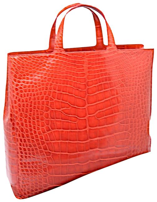 Item - Made In Italy Red Alligator Skin Leather Tote