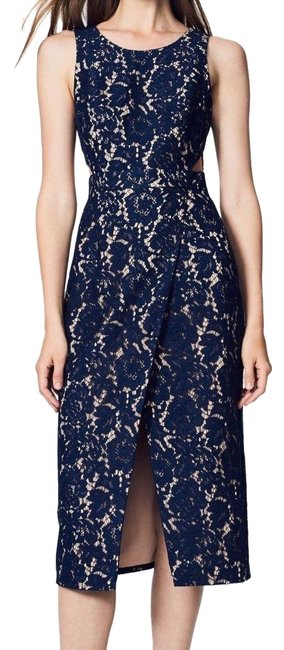 Item - Blue New Womens Lace Front Slit Sheath Mid-length Cocktail Dress Size 2 (XS)