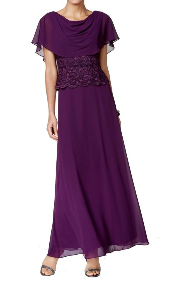 a557d7fa20085 Jessica Howard Purple New Womens Cape Lace Bodice Gown Long Formal ...