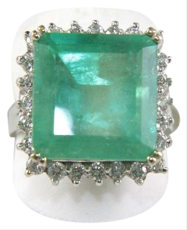 e3328063b6fc5 Green Square Colombian Emerald & Diamond Halo Solitaire 14k Wg 12.36ct Ring  39% off retail