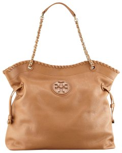 Tory Burch Leather Convertible Gold Tote in Tan