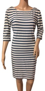 Juicy Couture short dress White w Navy & Blue Stripes Gold Zippers Shoulder Accents Knee Lenght Classy on Tradesy
