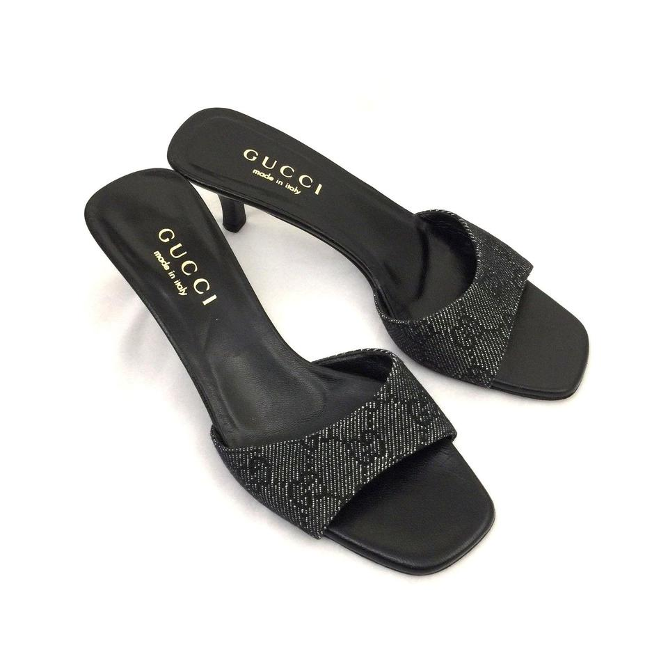 836fa9376a3 Gucci Black Mule Canvas Guccissima Monogram Open Toe Slide Slip On ...