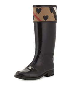 Burberry Winter Fall Italian Logo Black Boots